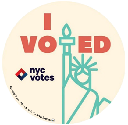 We used the statue of liberty an iconic symbol of both new york city and democracy and incorporated it into the stickers message in a way we felt any