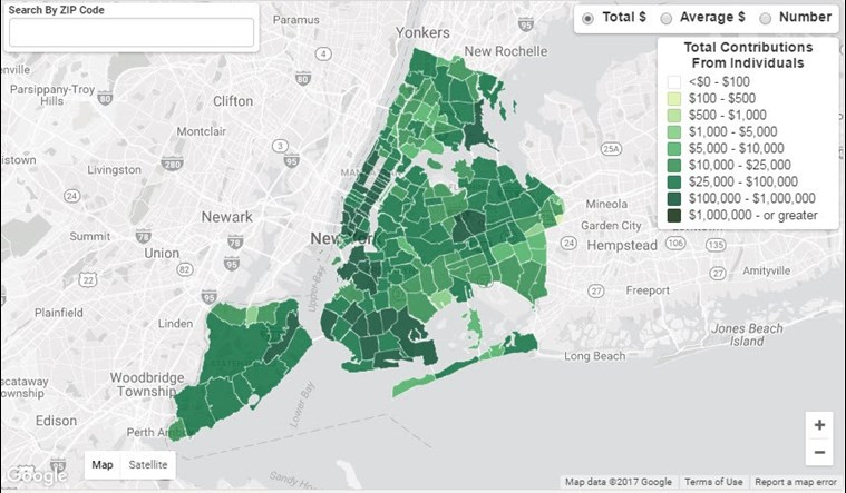 Brooklyn Zip Code Map 2017.2017 Elections How Matching Funds Spread The Wealth New York City